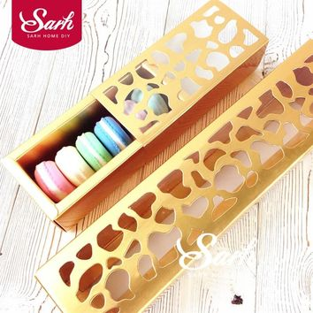 10pcs/lot Cookie Package Gold Color Strip Hollow Macarons Box, Cake Box, Chocolate, Muffin Biscuits Box Baking Package
