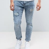 Brooklyn Supply Co Skinny Fit Jean Light Blue Heavy Rips at asos.com