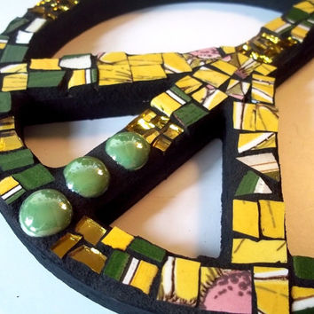 Mosaic Peace Sign Wall Decor: Broken China Mosaic Art, Bohemian Decor, Wall Art, Peace, Hippie Art, Yellow, Green, Gold, Mosaic Decor