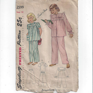 1940s Vintage Simplicity 2599 Pattern for Girls' 2 Piece Pajamas, Size 10, Simple to Make, Vintage Pattern, Home Sewing, 1940s Girls Fashion