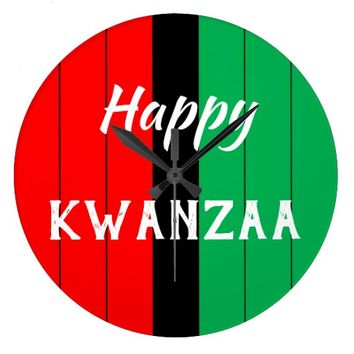 Kwanzaa Kinara Red Black Green Stripes Pattern Large Clock