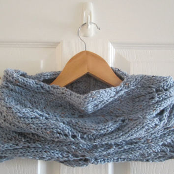 Light Blue Cowl - Knit Cowl - Chunky Blue Cowl - Circle Scarf - Tube Scarf - Infinity Scarf - Hand Knit Cowl - Knitted Cowl - Acrylic Cowl