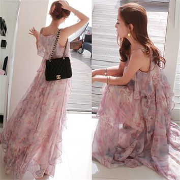 2018 women dress elegant bohemian beach summer dress ultra perfect fairy Sleeveless sexy maxi dress chiffon long dress LQ16