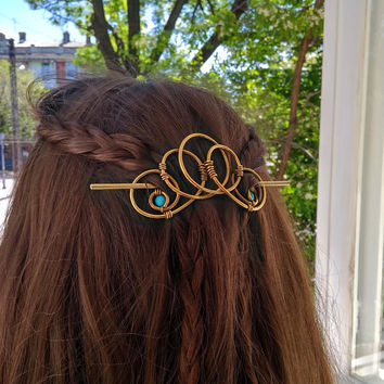 Spiral Brass Hair Slide with Turquoise Beads, Brass Hair Clip, Metal Hair Accessory, Geometry Style, Gift for Her, Brass Hair Barette
