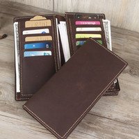 coin purse brand Genuine Leather Casual handmade leather wallets long new men,s cow leaaher Custom  wallet money handmade clip