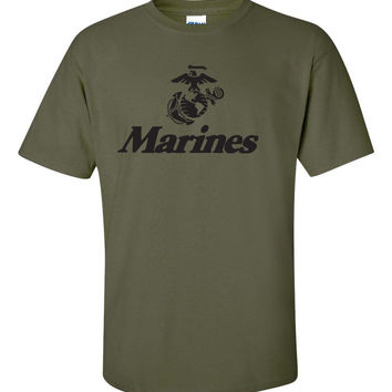 Marine Corps U.S. United States Marines USMC Military Men's Tee T Shirt T-Shits Printing Short Sleeve Casual O-Neck Cotton