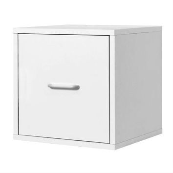 1-Drawer Modular File Cube Storage Cabinet in White