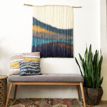 Dip Dyed Wall Hanging - Yarn Tapestry - Boho wall hanging - Fiber Art -Wall Hanging  - Boho decor