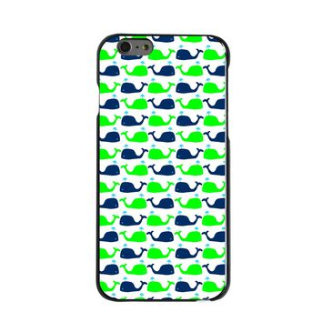 DistinctInk® Hard Plastic Snap-On Case for Apple iPhone - Green Navy Cartoon Whales