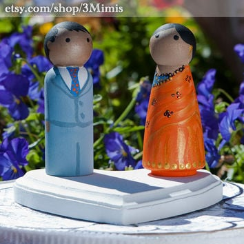 Cake Toppers Theme Wedding Wooden Peg People  Hand by 3Mimis