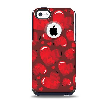 The Glossy Electric Hearts Skin for the iPhone 5c OtterBox Commuter Case