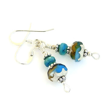 Turquoise Amber Earrings, Czech Glass Silver Handmade Jewelry Gift
