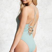 Ribbed Lace-Up One-Piece