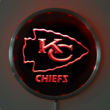 rs-b0046 Kansas City Chiefs LED Neon Round Signs 25cm/ 10 Inch - Bar Sign with RGB Multi-Color Remote Wireless Control Function
