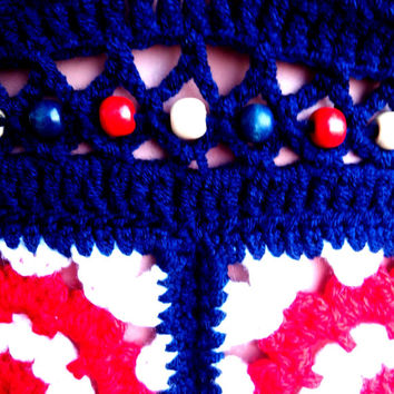 AMERICAN FLAG TOP Beads Wood Crochet Hippie Halter Top Crop Top Crochet Tank Top Crochet Coachella Gypsy Yoga Sexy Top Crochet