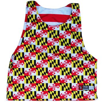 Maryland Flag All Over and American Flag Lacrosse Pinnie