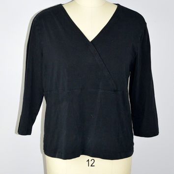 J Jill Black Stretch Cross Over Top 3/4 Sleeve Size XL