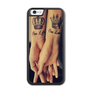 Love Qutoe Series One Life One Love Forever Tattoo iPhone 6 Rubber Case (4.7 Inch) - Rubber Personalized iPhone 6 Cases (4.7 Inch)
