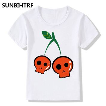 Girl Cherry Skull Head Print T-shirts Casual Clothes