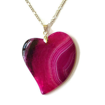 Agate Heart Necklace Stone Necklace Agate Necklace Dragons Vein Boho Jewelry Bridesmaid Gift Large Necklace Layer Necklace Heart Jewelry