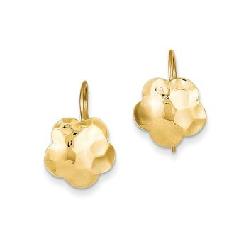 14k Yellow Gold Concave Hammered Flower Disc Earrings