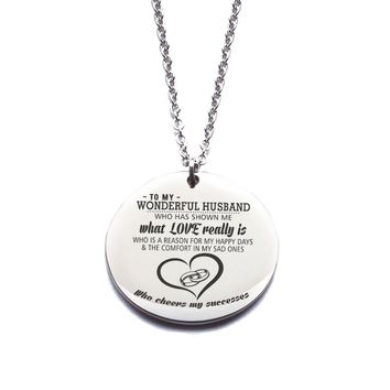Custom Engraved Stainless Steel [To My Husband] Necklace