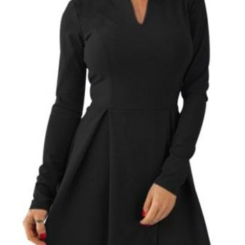 Black Long Sleeve V Neck Ruched Skater Dress