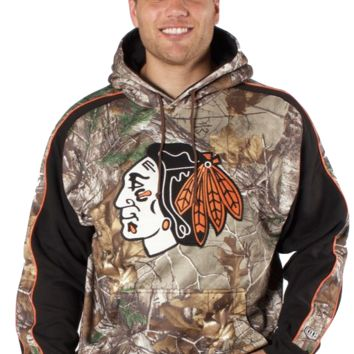 Men's Chicago Blackhawks Adult Decoy Fleece Hoody Sweatshirt, Camo-Old Time Hockey