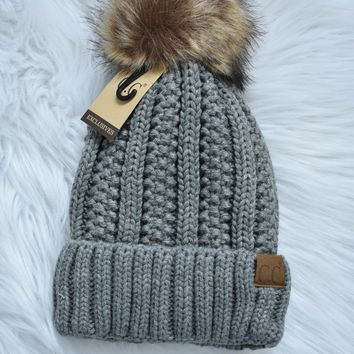 Pom Pom Knit Beanie, Light Grey
