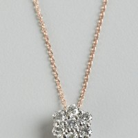 Elements by KC Designs rose and white gold diamond flower charm necklace | BLUEFLY up to 70 off designer brands