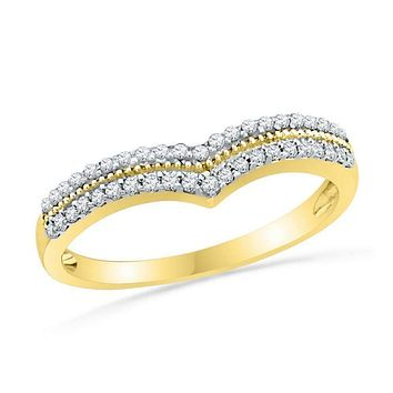 10kt Yellow Gold Women's Round Diamond Chevron Band Ring 1/4 Cttw - FREE Shipping (US/CAN)