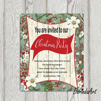 Rustic Christmas Party invitation printable Custom Christmas invitation Digital Christmas invitation Personalized Flat Christmas invitation