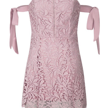 Nude Pink Bardot Tie Sleeve Cutwork Lace Ladder Mini Dress