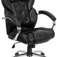 High Back Transitional Style Black Leather Executive Swivel Office Chair