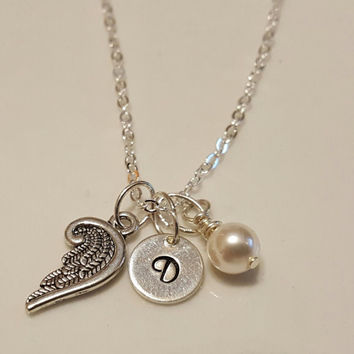 Angel Wing Personalized Initial Swarovski Pearl or Birthstone Sterling Silver Necklace