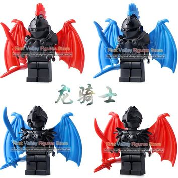 Medieval Castle Knight The Lord of the Rings LegoINGly Dragon Knight Action Figure with Armor Building Blocks Toys for Children