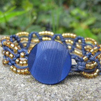 Navy Macramé Bracelet with Gold Beads