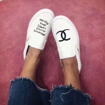 Vans x CHANEL Old Skool Slip-On Fashion Flats Sneakers Sport Shoes