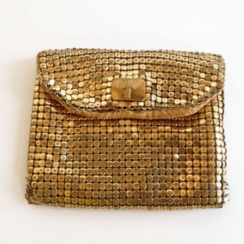 Vintage Gold Metal Mesh Rosary Bag by ModernFiction on Etsy