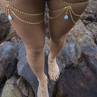 Water Drop Turquoise Thigh Jewelry