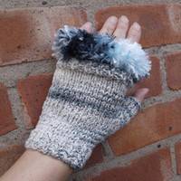 Blue and white fingerless gloves with blue faux fur trim - OOAK - one size - adult/teen/Christmas/gift/autumn/winter