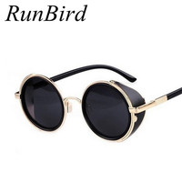 2016 Coating Sunglass Steampunk Round Fashion Sunglasses Women Brand Designer Steam Punk Metal Sun Glasses Men Retro Oculos M027