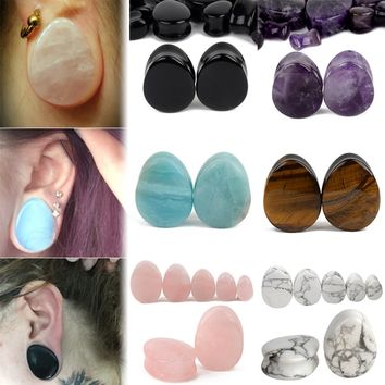 Natural Stone Teardrop Shaped Ear Gauges Plugs Body Jewelry 1 Pair Size 5mm-25mm