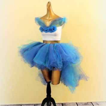 Cinderella adult tutu outfit Cinderella costume edc edm rave outfit blue high low tutu adult tutu photo prop sexy costume cosplay comicon