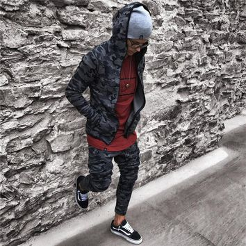 2018 New Muscle Brothers Camouflage Suit Men's Sets Elastic Gyms Pants Military Fatigues High quality Polyester Material