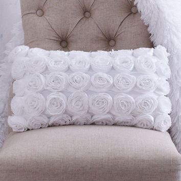 Shabby Chic Toss Pillows : WHITE ROSETTE THROW Pillow Shabby Chic from CloudHunterCo on Etsy