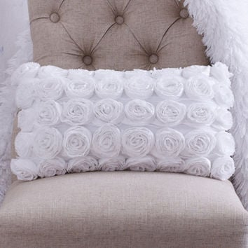 Shabby Chic Pillows White : WHITE ROSETTE THROW Pillow Shabby Chic from CloudHunterCo on Etsy