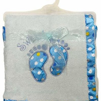 baby boy plush fleece applique blanket Case of 12