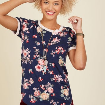 Travel Team Floral T-Shirt in Navy Bloom | Mod Retro Vintage Short Sleeve Shirts | ModCloth.com