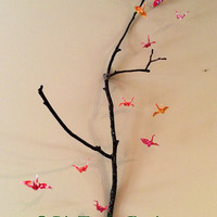 Paper Cranes on a branch, origami mobile, origami wall art, office art, paper crane sculpture, feng shui home decor, baby decor, good luck